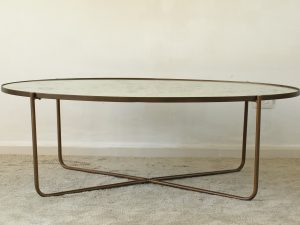 Coffee table oval antique mirror
