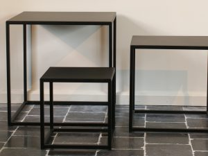 Square coffee table black metal set of 3