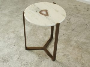 Side table marble agathe inlay