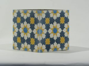 Planter Square Tile Blue Yellow