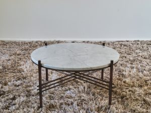 Coffee table  round 3pipe cararra white D70cm