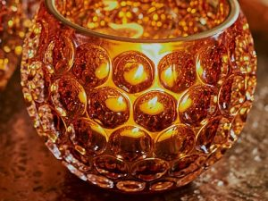 Votive – Glass round circles Amber