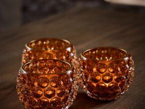 Votive – Glass round circles Amber