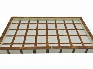Tray Rectangular Check  brown