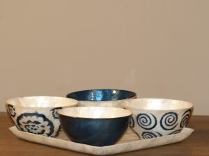 Tray Apero Shell  with 4 bowls blue