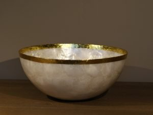 Salad bowl Shell natural Gold Rim
