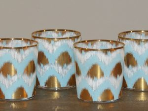 Votive Ikat Blue Set of 4