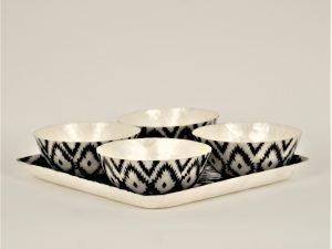Tray Apero Shell  4 Bowls Ikat black